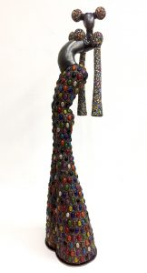 ceramic sculpture rocaille colourful traditional headdress