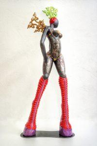 ceramic sculpture inspiration brasil wings boots headdress