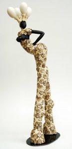 sculpture, ceramics, goose eggs, flowers, gold