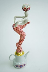 recycled teapot sculpture seventies look