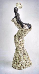 sculpture, glazed ceramic, flowers, silicon mold