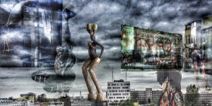 Panorama view Berlin sculptures pictures